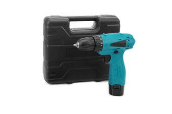 12V Electric Drill Cordless Screwdriver Set with Carrying Case Li-ion Battery-Macaw Blue Green