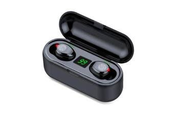 F9 TWS Bluetooth 5.0 Wireless Earbuds Hands-free Headphones 10m Working Distance Hi-Fi Sound Effect-Black