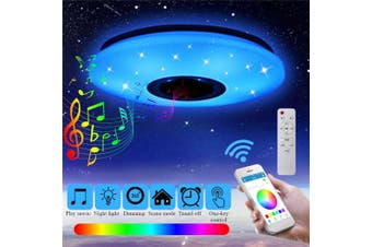 60W RGB LED Ceiling Light bluetooth Music Speaker Lamp Remote APP Control AC220V-White