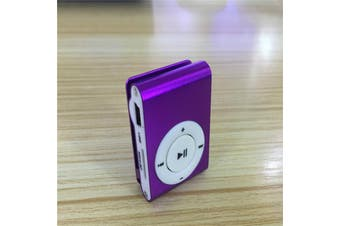 Mini Portable Metal Clip Card MP3 Music Player color:purple