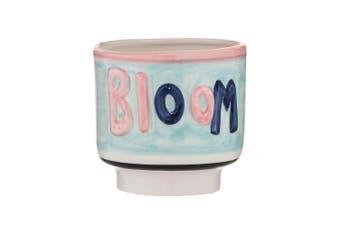 Emporium Earthenware Bloom Planter Pot 13 x 12cm Blue & Pink