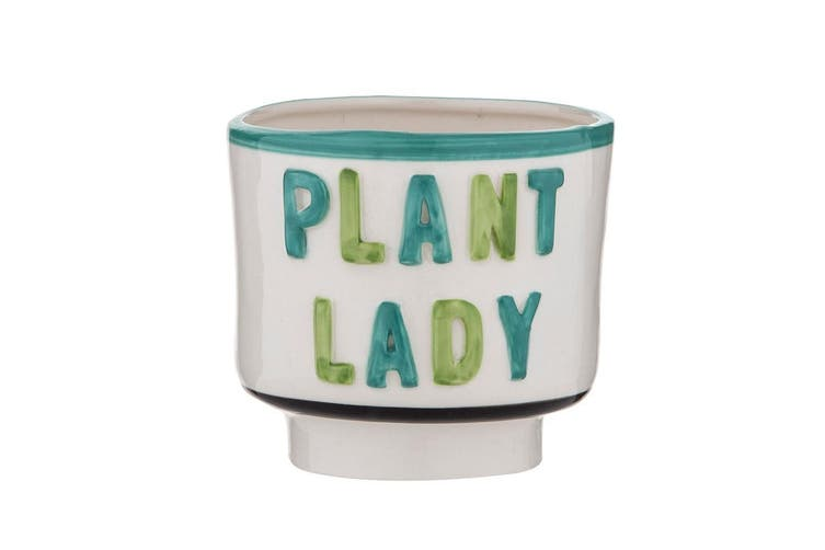 Emporium Ceramic Plant Lady Planter Pot 13 x 12cm White & Green