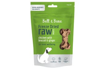 Bell & Bone Freeze Dried Raw Dog Treats Chicken Broccoli & Ginger 100g