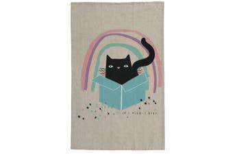 The Linen Press Organic Cotton Cat Love Cat in Box Tea Towel
