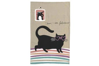 The Linen Press Organic Cotton Cat Love Love Heart Tea Towel