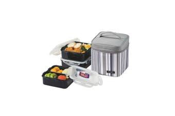 Lock & Lock Classic Specialties Lunch Bag 3 Piece Set Grey Stripe