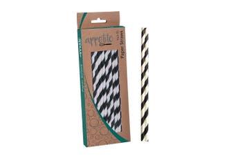 Appetito Paper Straws Pack of 50 Black Stripes
