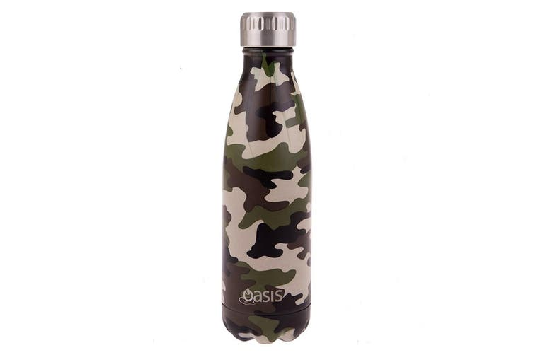 Oasis Stainless Steel Double Wall Insulated Drink Bottle 500ml Camo Green