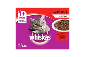 Whiskas Beef in Gravy Variety Adult Wet Cat Food 12x85g