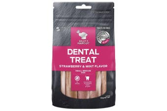 Billy & Margot Strawberry & Mint Small & Medium Dental Dog Treat 5 Pack