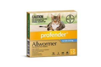 Profender Allwormer Spot On Cat Medium Blue 2.5 - 5kg 2 Pack