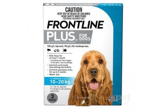 Frontline Plus Dog 10-20KG Medium Pack of 3 Blue