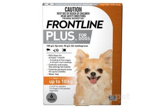 Frontline Plus Dog 0-10KG Small Pack of 6 Orange