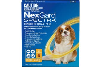 Nexgard Spectra Yellow For Small Dogs 3.6-7.5kg 3 Pack