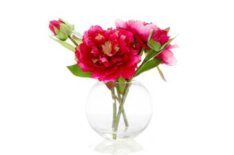 Florabelle Living Polyester Peony in Water Bowl 25cm Fuschia