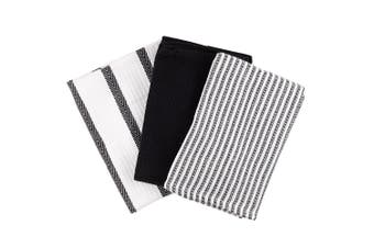Scullery Pura Tea Towel Set of 3 Black