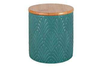 Ambrosia Classico Stoneware & Wood Canister 10cm Green Leaves
