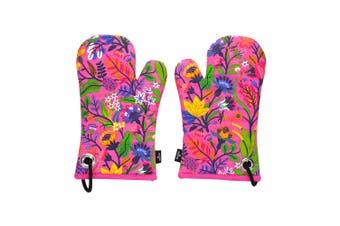 Ambrosia Aster 2 Piece Cotton Oven Glove Set 30.5 x 16cm Pink Flower