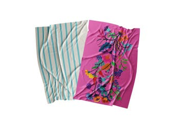 Ambrosia Aster Cotton 2 Piece Tea Towel Set 67.5 x 47.5cm Pink Floral