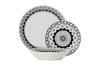 Ambrosia Phoenix Porcelain 12 Piece Dinner Set Black & White