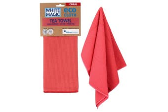 White Magic Tea Towel Coral
