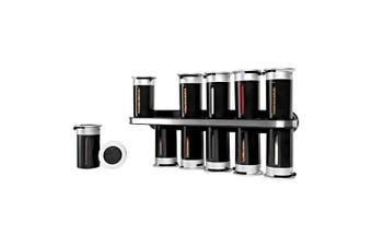 Zevro Zero Gravity Wall-Mount Magnetic Spice Rack Black