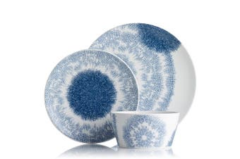 Noritake Aozora Porcelain 12 Piece Dinner Set Blue & White