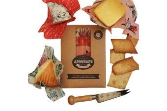 Apiwraps Beeswax Wraps 3 Piece Cheese Lover Reusable Food Wraps Set