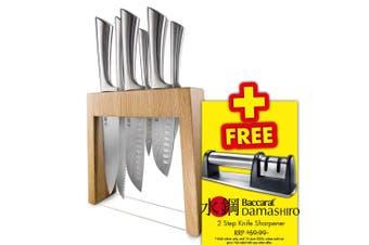 Baccarat Damashiro Mizu 7 Piece Knife Block Set Oak Japanese Steel
