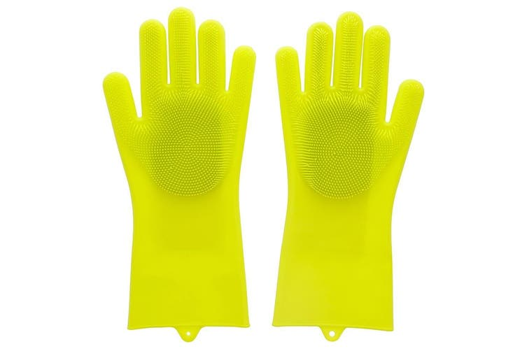 Scruba-Dub Antibacterial Silicone Cleaning Gloves Lime Green