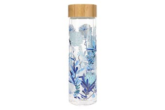 Hydro2 Togo Double Wall Glass Water Bottle 400ml Flower
