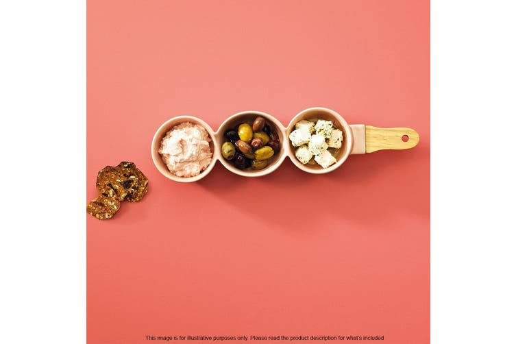 Alex Liddy Laya Stoneware 3 Bowls with Bamboo Handle 26.5 x 9cm Pink
