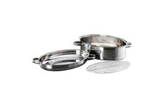 Baccarat Gourmet Stainless Steel Non Stick Oval Roast & Steam 3 Piece Set