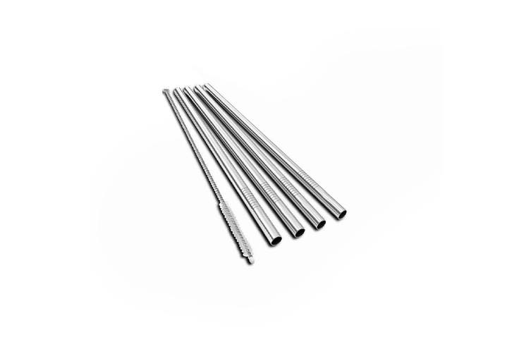 Uberbartools BarStraws Stainless Steel Reusable Straws Set of 4 Chrome