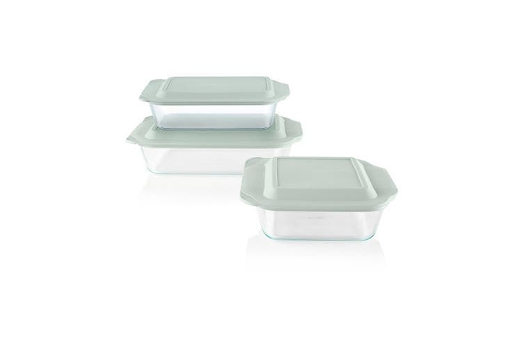 Pyrex Deep Dish Rectangular Glass Baker 4.7L with Sage Green Lid 23 x 33cm