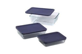 Pyrex Simply Store Rectangular Container Set of 3 Blue