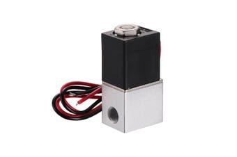 "1/8"" 2 Way 12V Electric Solenoid Air Valve Pneumatic Aluminum Gas Liquid w/Wire"