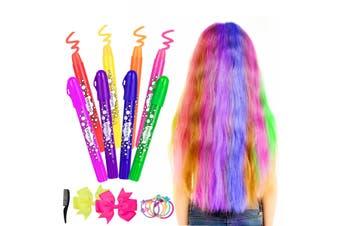 ETEREAUTY 8 x Hair Chalk 2 x Bow 10 x Hair Tie 1 x Comb DIY Salon Party Gift Set