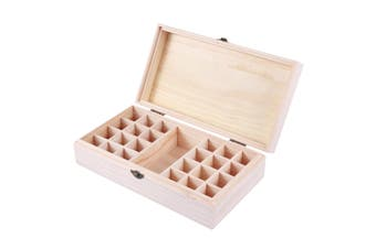 25 Slots Essential Oil Storage Box Wooden Case Wood Container Organizer Display
