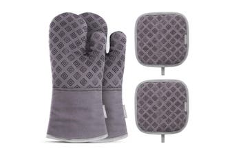 Homemaxs Oven Mitts Set Heat Resistant Oven Gloves for Barbecue Baking Cooking
