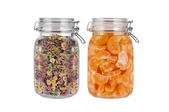 BESTONZON 2PCS Food Storage Containers 1.5L Airtight Glass Storage Jars with Leak Proof Silicone Gasket and Clip Top Lid for Storing Sauce Beverage Tea Candy Rice Millet