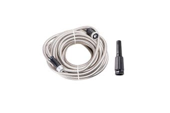 75FT Metal Garden Hose Water Flexible Stainless Steel Pipe Adjustable Nozzle