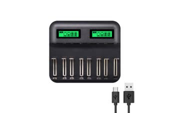 8 Slots Smart USB Battery Charger Digital Display AA AAA C D Battery Charger