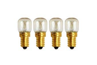 4pcs E14 Small Screw Light Bulb 300 Celsius Degree Oven Bulb Microwave Brass Lamp Bulb (Warm White, 25W)