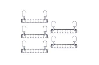 5pcs 9 Hole Multifunctional Storage Hanger Clothes Drying Rack Multi-port Support Clothes Organizer Holders for Home (Grey)