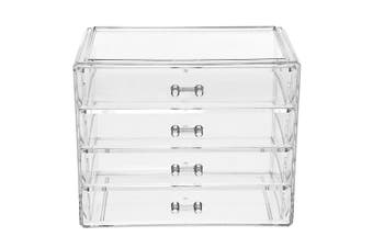 1PC Large Size Makeup Storage Box Transparent Acrylic Cosmetics Storage Case Four Drawer Type Cosmetics Box for Home Use