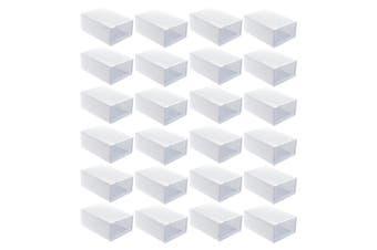 24pcs Clear Shoe Box Set Foldable Storage Plastic Clear Home Organizer Rack L