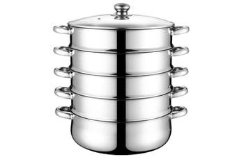 Stainless Steel Steamer Multifunctional Stockpot Practical Soup Pot Silver (5 Layers 28cm)