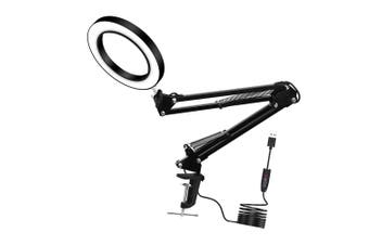1Pc Retractable Long Arm USB Desk Lamp With Magnifying Glass Welding Lamp (Black)