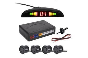 1 Set of Reversing Radar 4 Probe Buzzing LED Parking Sensor Back up Radar Monitor System (Black)